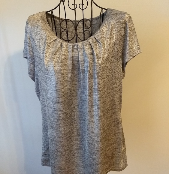 b8809935a Worthington Tops   Silver Shimmer Top Size Petite Xl Short Sleeve ...